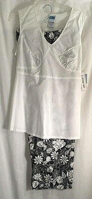 maternity top pants set M white Black New Outfit slacks NEW NWT