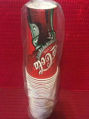 """Lot of  32  Coca Cola Wax Paper  Cold Drink Cups  Fountain Drink 6 1/2"""" NIP"""