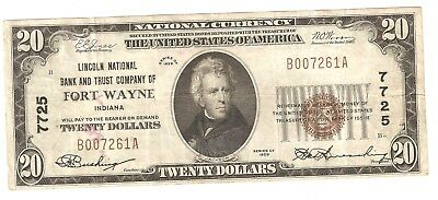 $20.00 Circulated 1929 NATIONAL BANK NOTE  Fort Wayne, IN. T1 Charter #7725