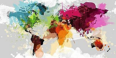 COLORFUL WORLD MAP POSTER contemporary novelty decorative vibrant colors print