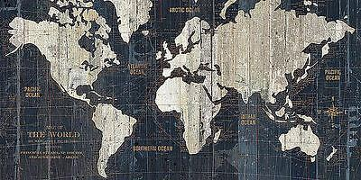 OLD WORLD MAP BLUE POSTER BY HUGO WILD 36x24 contemporary decorative print