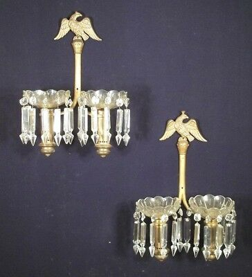 A VINTAGE PAIR OF EARLY 20th CENTURY DOUBLE ARM EAGLE FINIAL BRASS+GLASS SCONCES
