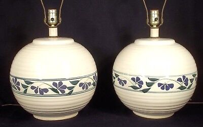 Large Pair Of Hand Turned Art Pottery Lamps With Blue Floral Decoration