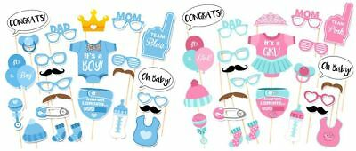 25 Pcs DIY Photo Booth Props Mask on A Stick Baby Shower Birthday Party Supply