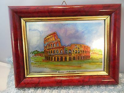 Vtg. Souvener Framed Picture Of Roman Colosseum From Italy Wall Hanging