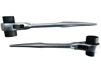 Scaffold Steel Double Sided 19 21mm Professional Ratchet Spanner Podger 2pcs SET