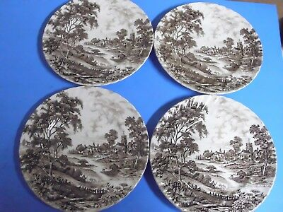 Lot Of 4 Ridgway Staffordshire Meadowsweet Dinner Plates 9 3/4 Inches Brown