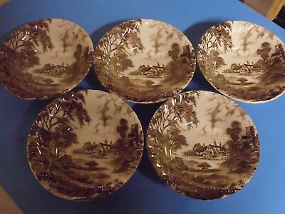 Lot Of 5 Ridgway Staffordshire Meadowsweet Cereal Bowls 6 3/8 Inches Brown