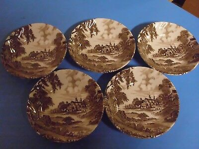 Lot Of 5 Ridgway Staffordshire Meadowsweet Dessert Bowls 5 1/4 Inches Brown