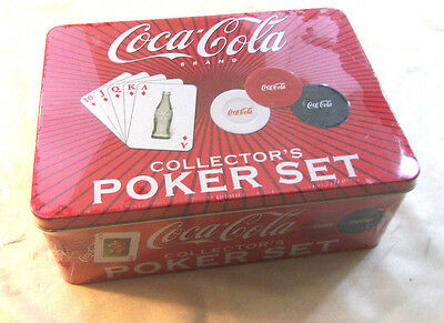 Coca-Cola Collector's Poker Set New In Sealed Tin Poker Chips & Cards    - DW12