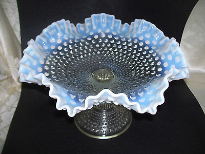 Opalescent Fenton Hobnail Clear Glass Large Ruffled Edge Footed Compote - DW68