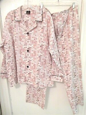 Vtg The Men's Store Size Large (42-44)  2 Pc White & Brown Pajama Set - Nwots
