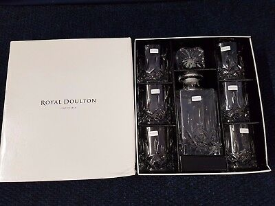 Royal Doulton Seasons Boxed 7 piece Crystal Decanter Set with Glasses / Tumblers