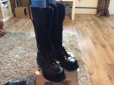 Ladies Black Leather 20Hole Uk6 Steel Toe Underground Punk/Goth/Skin Boots