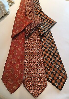 Lot of 3 Steffano Ricci Handmade Silk Men's Ties with Pocket Square