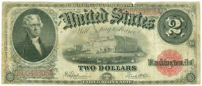 1917 $2 Two Dollar Red Seal United States Legal Tender Large Note