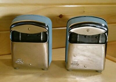 Vintage Retro 60s Diner Restaurant Napkin Holders Turquoise Chrome Matching Pair