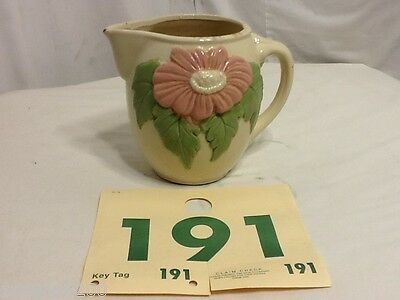 Vintage Hand Painted Water Pitcher with Raised Red Flower and Leaf Pattern