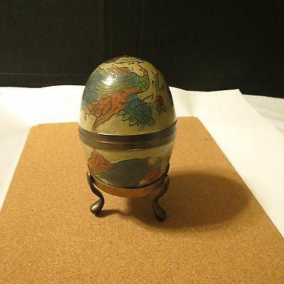 Enameled Brass Cloisonne Egg with stand- Peacock Pattern
