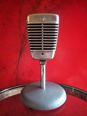 Vintage 1960's Shure 51 Dynamic microphone deco old used antique w Atlas stand