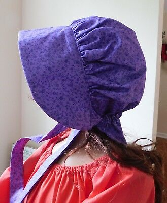 LADIES WOMENS BONNET COSTUME,THEATER,CIVIL WAR 100% cotton #1077 purple floral