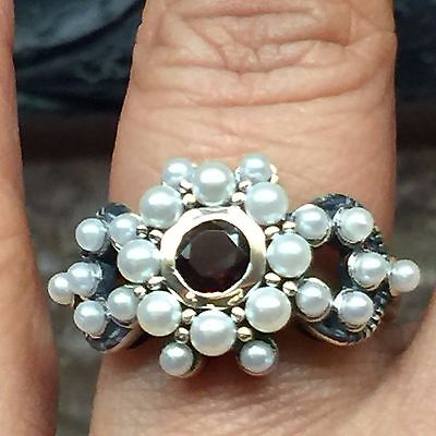 Natural Pyrope Garnet, Freshwater Cultured Seed Pearl 925 Sterling Silver Ring 7