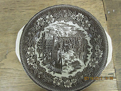 "9"" Vegetable Handled Bowl in Coaching Taverns Brown by Royal Tudor Ware1828"