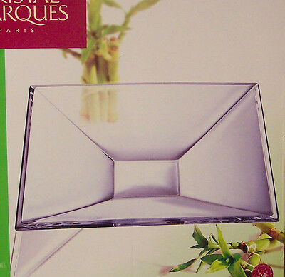 Cristal D'Arques Pyramid Square Center Bowl, Lead Crystal, Contemporary, new