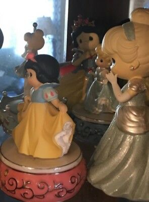 precious moments lot of 25 disney music boxes, globes, and miscellaneous figurin