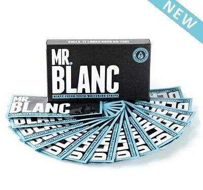 Mr Blanc Teeth Whitening Strips 28 Strips 14 Pouches 2 Weeks Supply In Box