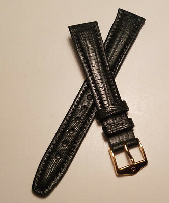 16mm BLACK HIRSCH VINTAGE GENUINE REPTILE ROYAL WATCH BAND NEW OLD STOCK