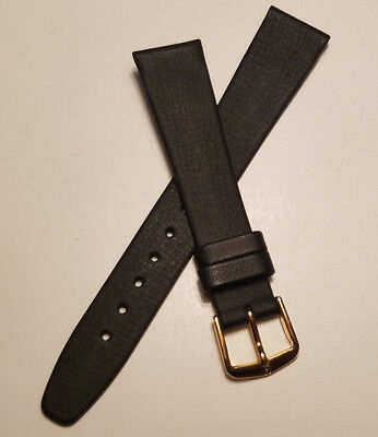 17mm BLACK HIRSCH VINTAGE GENUINE QUALITY CALF WATCH BAND >NEW OLD STOCK<