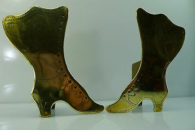 Rare Old Brass Pair Of Ladies Shoes Decoration With Small Storage Boxes