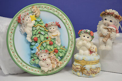Three Christmas Themed Dreamsicles Hinged Trinket Box, Plate, Figurine