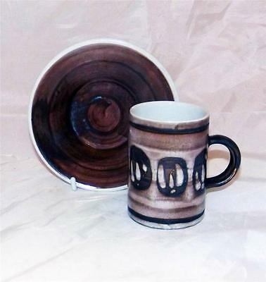 Cinque Ports Pottery Rye Sussex Circles Pattern Cup & Saucer White Earthenware
