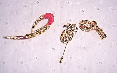 """3 Pc. Lot Assorted Avon Pins -Brooches -Scarf-Hat- Lapel:1-1/2""""-3""""-Gold Tone"""
