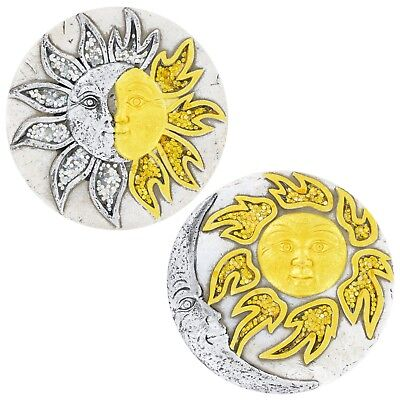 Case of 24 Sun and Moon Face Cement Stepping Stones, 6.5 in. Outdoor Or Indoor D