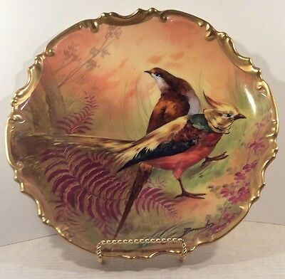 """Limoges French artist signed A.Bronssillon Game Birds, 11 1/4""""  Plate"""