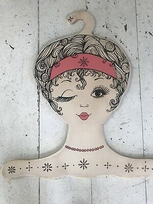 Vintage 1960s Italian Mod Girl Face Head Wood Display Clothes Hanger Retro
