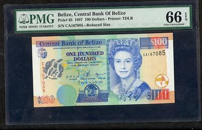 1997 Belize, Central Bank Of 100 Dollars Pck #65 Pmg 66 Epq  1 Of 2 Please Lqqk*