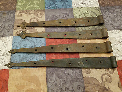 ANTIQUE IRON STRAP HINGES HAND FORGED BARN HINGES FARM lot of 4