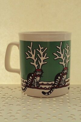 Kliban Cat Christmas Reindeer Cat Kiln Craft Mug