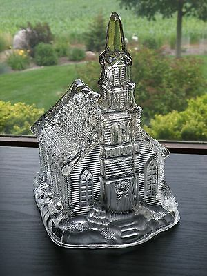 "1990 GINY Clear Glass Large Holiday Village Church Lighted 10 3/4"" tall"