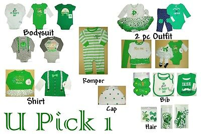 St Patricks Day 1st Outfit Holiday Bodysuit Shirt Pants Creeper Bib Dress