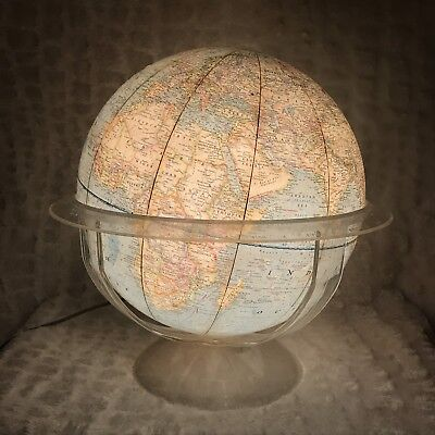 Vtg National Geographic Society World Globe Light W Clear Base/Stand *Lights Up