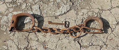 antique iron handcuffs hand-forged key plus rare #