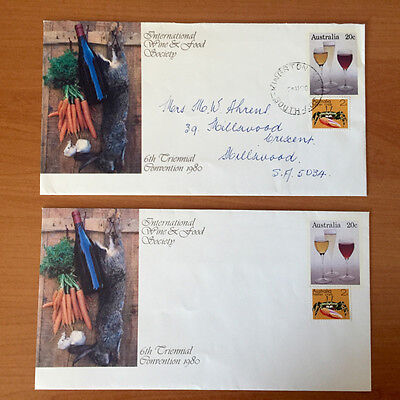 20c 6th Triennial Wine & Food Convention - Pre Stamped Envelope - Mint/Used Pair