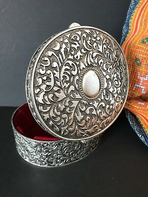 Ornate Silver Finish Vanity Box with Red Velvet Lining  …nice for the dresser