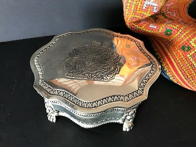 Antique Style Silver Finish Vanity Box with Red Velvet Lining…