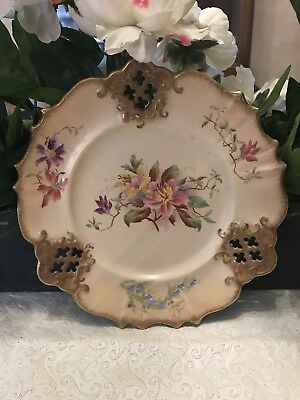 """Carlton  Ware W&R Stoke on Trent  Gold Pierced Edge Floral Plate 9-1/2"""""""